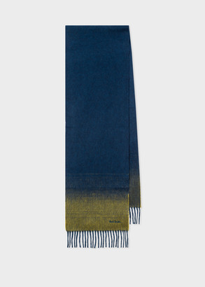Paul Smith Men's Navy Cashmere Scarf With Contrast Ends