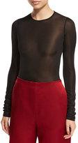 The Row Olin Mesh Long-Sleeve Bodysuit
