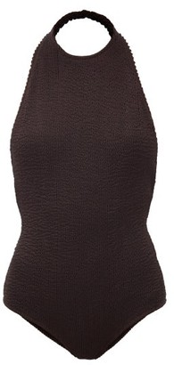 Bottega Veneta Halterneck Crinkle-ribbed Swimsuit - Dark Brown