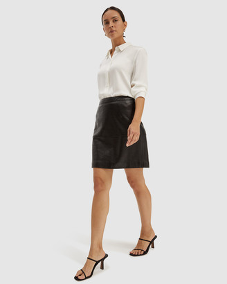 SABA Women's Black Skirts - Lilia Leather Mini Skirt - Size One Size, 6 at The Iconic
