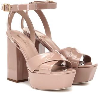 Saint Laurent Farrah 80 patent leather sandals