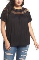 Lucky Brand Plus Size Women's Crochet Yoke Cold Shoulder Top