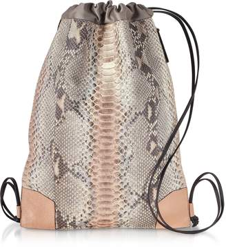 Ghibli Pearl Gray and Pale Pink Python Leather Backpack