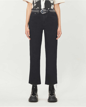 Topshop Raw-hem straight-leg high-rise stretch-denim jeans