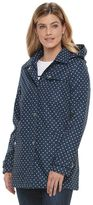 Women's Weathercast Hooded Polka-Dot Trench Rain Jacket