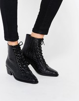 Asos ARIANA Leather Lace Up Ankle Boots
