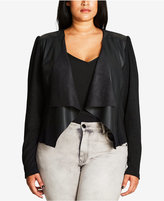 City Chic Trendy Plus Size Faux-Leather-Trim Cardigan