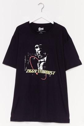 Nasty Gal Womens Ziggy Stardust Graphic Band Tee - Black - 14-16