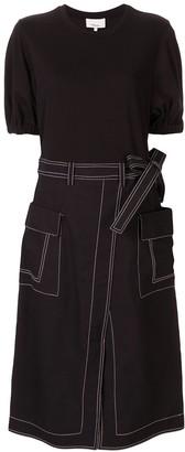 3.1 Phillip Lim T-Shirt Dress With Denim Skirt