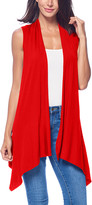 Brooke & Emma Women's Sweater Vests RED - Red Drape-Front Open Vest - Women