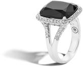 John Hardy Women's Classic Chain Magic Cut Ring, Sterling Silver, 15x12MM Black Onyx, Pave White Diamond (0.3ct)