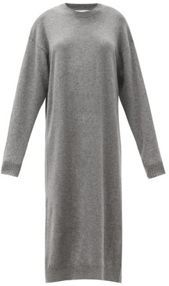 The Row Anibale Side-slit Cashmere Sweater Dress - Dark Grey