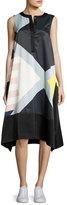 Public School Cyra Sleeveless Printed Satin Swing Dress, Multicolor