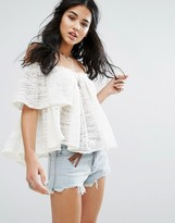 Free People Thrills And Frills Off Shoulder Blouse