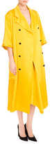 Victoria Beckham 3/4-Sleeve Double-Breasted Pleated Coat, Yellow