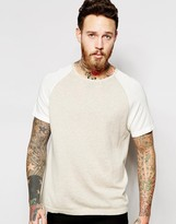 YMC Sweater with Contrast Short Sleeves in Beige