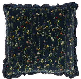 Preen by Thornton Bregazzi Snake And Floral-print Ruffle-edged Satin Cushion - Navy Print