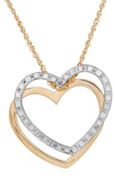 Lord & Taylor 14K Yellow-Gold Double Heart Pendant Necklace