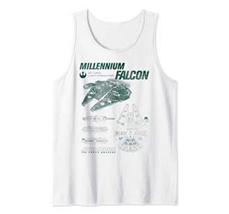 Star Wars The Force Awakens Millennium Falcon Green Diagram Tank Top