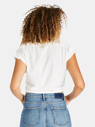 ÉTICA Gemma Organic Cotton Tie Front Tee - Cloud White