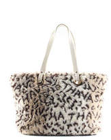 Samantha Thavasa Beige Faux Fur Animal Print Gold Tone Tote Handbag BC6842 MHL