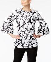 Alfani Printed Poet-Sleeve Top, Only at Macy's