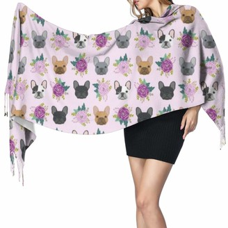 Pgtry Women Scarves Winter Long Soft Warm French Bulldog Purple Lavender Pastel Purple Frenchie Dogs And Florals Cashmere-like Pashmina Shawls Wraps Tassel Shawl Stole Scarf
