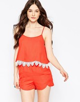 Girls On Film Romper With Lace Detail