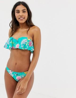 Seafolly Water Garden frill bustier bandeau bikini top in multi