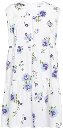 Les Rêveries Gathered Floral-print Cotton-poplin Mini Dress