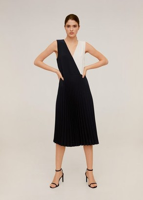 MANGO Pleated bicolor dress black - 2 - Women