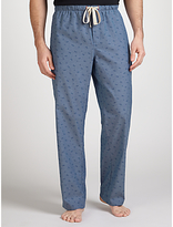 John Lewis Palm Print Chambray Lounge Pants, Blue