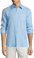 Vilebrequin Linen Long-Sleeve Shirt, Light Blue
