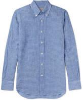 Canali Button-Down Collar Gingham Linen Shirt