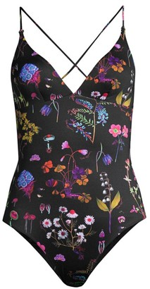 Stella McCartney Trippy Floral Tie-Back One-Piece Swimsuit
