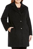 Calvin Klein Plus Wool Cashmere Blend A-Line Coat