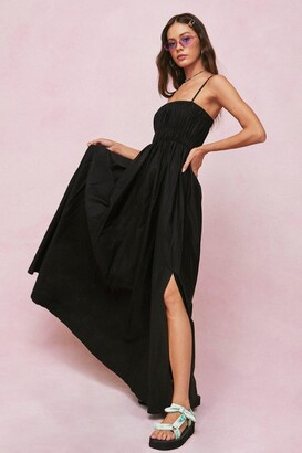 Nasty Gal Womens Shirred Square Neck Maxi Smock Dress - Black - 4