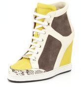 Jimmy Choo Panama Suede-Patent Wedge Sneaker, Pebble/Yellow