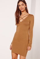 Missguided Cross Front Long Sleeve Dress Tan