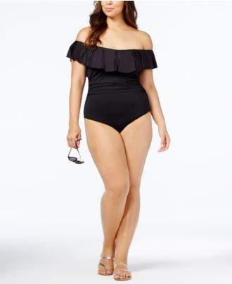 LaBlanca La Blanca Plus Size Off-The-Shoulder Tummy-Control One-Piece Swimsuit
