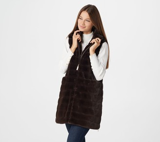 Dennis Basso Faux Fur Zip-Front Vest with Side Zippers