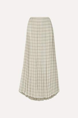 The Row Tulu Pleated Printed Silk-crepe Maxi Skirt - Ecru