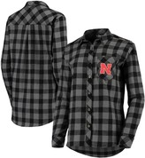Buffalo David Bitton Unbranded Women's Charcoal/Black Nebraska Cornhuskers Plaid Flannel Button-Down Shirt