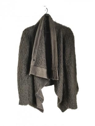 Rick Owens Khaki Leather Coat for Women