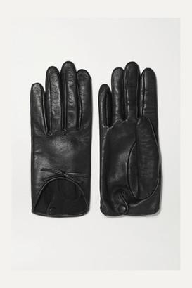 Agnelle Josie Bow-embellished Leather Gloves - Black