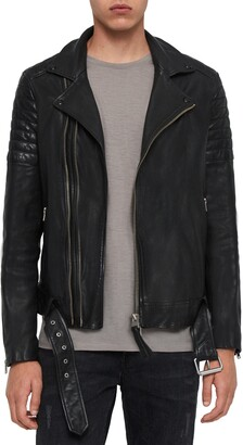 AllSaints Bolt Slim Fit Leather Biker Jacket
