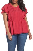 Sejour Plus Size Women's Lace Trim Pintuck Pleated Top