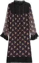 Anna Sui Printed Silk Dress with Lace