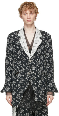 Sulvam Reversible Black and White Embroidered Blazer