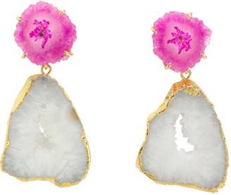 Yaa Yaa London 'Summer Love' Pink White Crystal Gemstone Gold Earrings